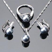 925 Sterling Zilveren Bruids Parel Sieraden Sets Oorbellen Voor Vrouwen Bruiloft Sieraden Zirkoon Steen Parel Ring Hanger Kettingen Set