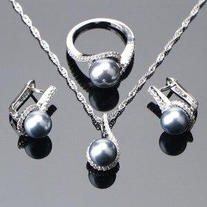 Image 1 - 925 Sterling Zilveren Bruids Parel Sieraden Sets Oorbellen Voor Vrouwen Bruiloft Sieraden Zirkoon Steen Parel Ring Hanger Kettingen Set