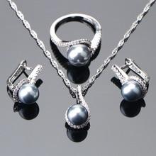 925 เงินสเตอร์ลิงเจ้าสาวเครื่องประดับไข่มุกชุดต่างหูสำหรับเครื่องประดับงานแต่งงานของผู้หญิง Zircon แหวนมุกจี้สร้อยคอชุด
