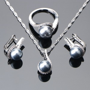 Image 1 - 925 סטרלינג כסף כלה פנינת תכשיטי סטי עגילי חתונת נשים תכשיטי זירקון אבן פרל טבעת תליון שרשראות סט