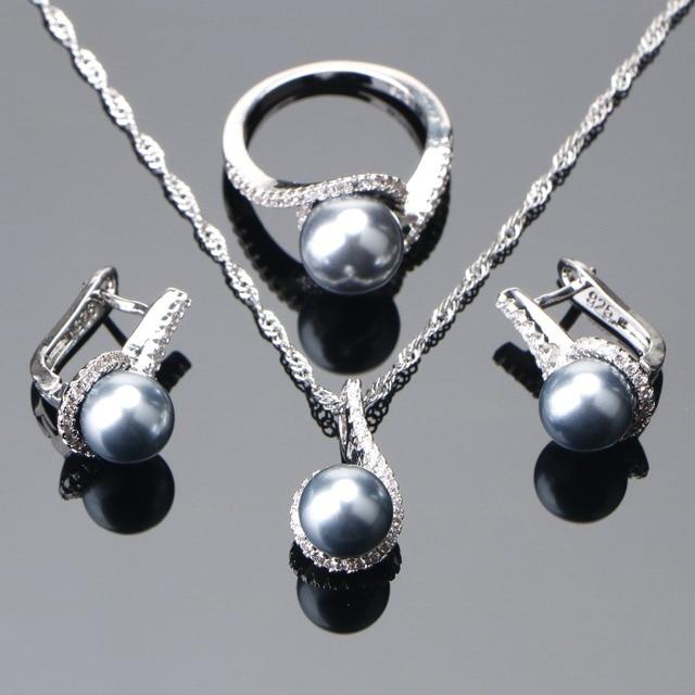 925 סטרלינג כסף כלה פנינת תכשיטי סטי עגילי חתונת נשים תכשיטי זירקון אבן פרל טבעת תליון שרשראות סט