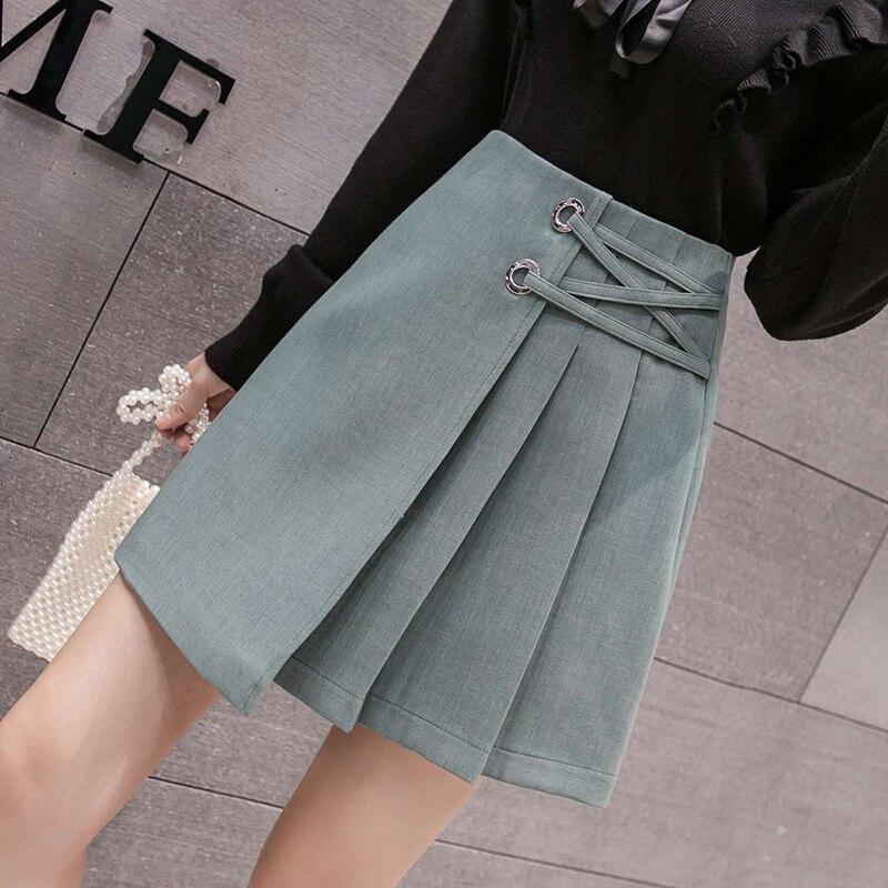 2020 nouvelle taille haute a-ligne plissée Mini jupe coréenne Preppy Style pansement décontracté jupe courte femmes jupes