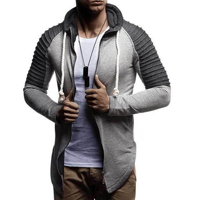 2019 Men's Autumn Long Sleeve Zipper Hooded Sweatershirts French Drawstring Hoodies Casual Slim Stitching Pleated hoodies Male