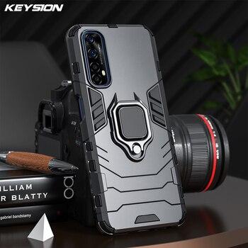 KEYSION-funda armadura a prueba de golpes para Realme 7 7i 7 Pro, soporte de anillo, funda trasera del teléfono de silicona para Realme X7 Pro 6i 6 Pro V5 X2