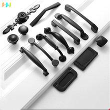 S j черные ручки для мебели и шкафа из алюминиевого сплава кухонные
