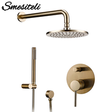 Faucet Mixer Shower-Head Bath-Brushed Diverter Brass Gold Wall Hand-Held Rain-Fall Tap-Set