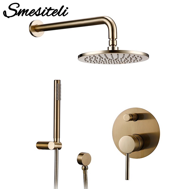 Bathroom Bath Faucet Brass Diverter Mixer Tap Set Brushed Gold Rain Fall Valve System Kit Hand Recommended Products Cards Carousel