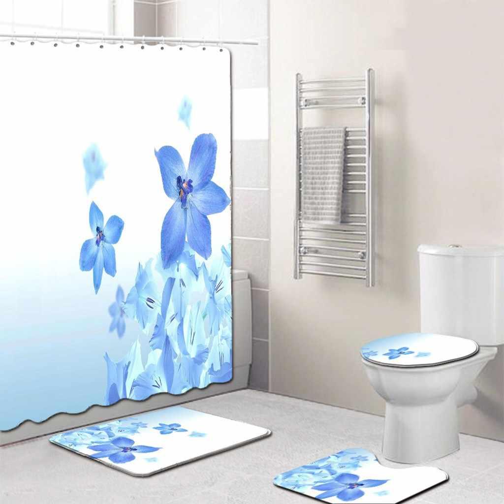 Pokrowiec na sedes 4 sztuk antypoślizgowy styl morski mata do kąpieli akcesoria łazienkowe kuchnia wycieraczki dywanowe Decor Wc pokrywa mata kurtyna # LR4