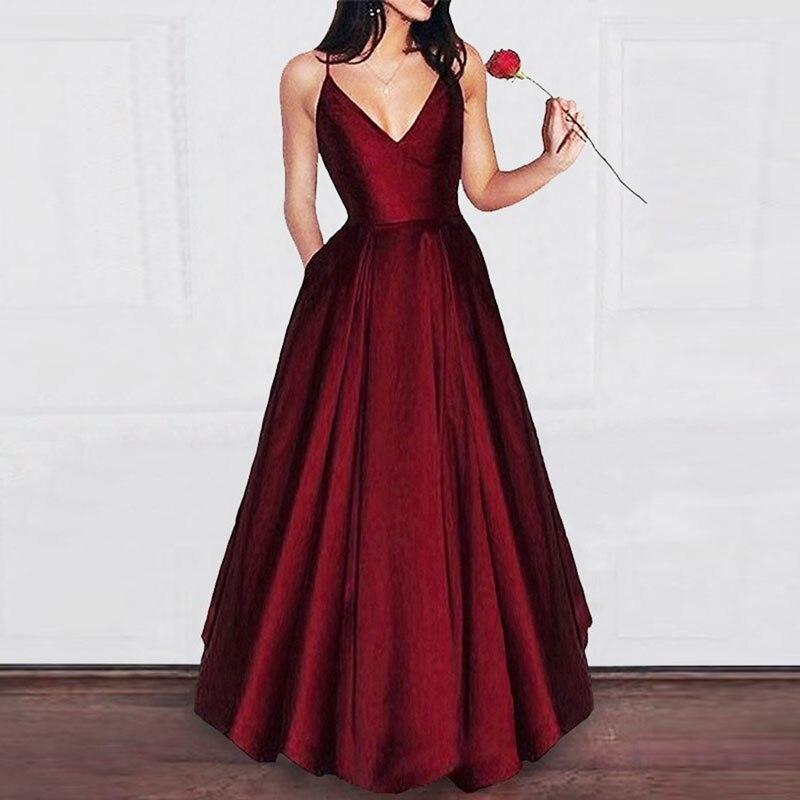 Dark Burgundy V-neck Prom Party Evening Dresses Vestido De Noiva Sereia Gown Robe De Soiree Slit Sexy Party Simple Satin Lace-up