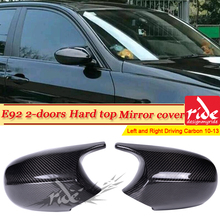 E92 Carbon Fiber Mirror Cover Caps Add on Style M3 Look 1:1 Replacement For BMW 3-Series Hard Top Rear View 20110-13