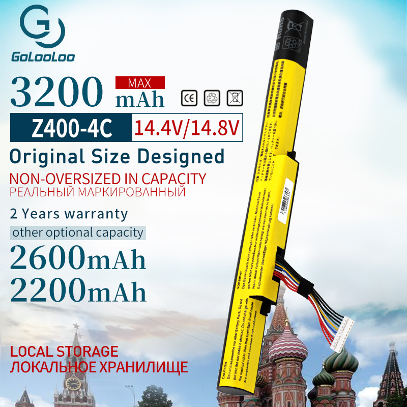 Golooloo 14.4V 3200mah Laptop Battery For Lenovo IdeaPad P400 P500  L12L4K01 L12S4E21 Z400 Z400A Z500 L12S4K01 L12M4E21 L12M4K0