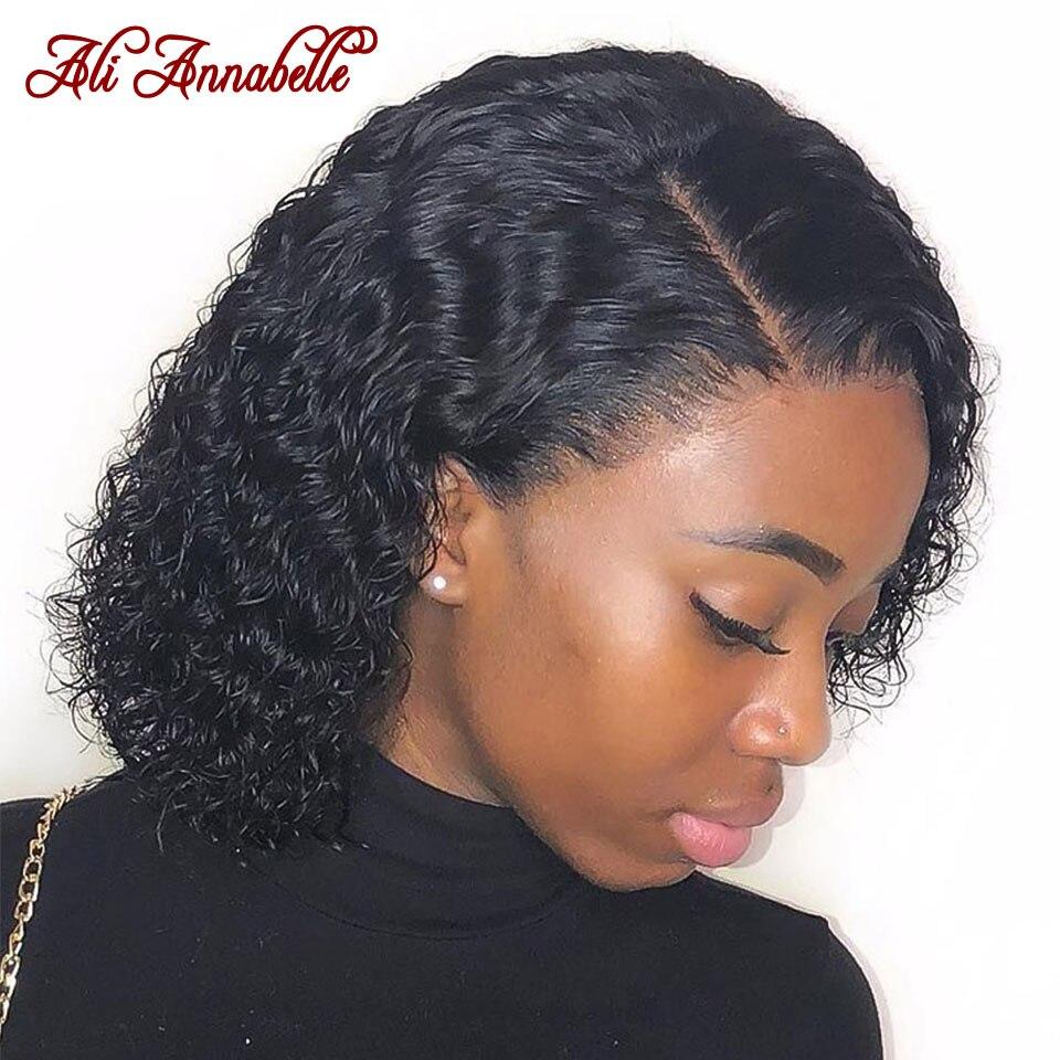 Парики из натуральных волос на кружевной основе, перуанские волосы с глубокой волной, короткие волосы, парик с предварительно выщипанными волосами, 150% плотность волос, парики