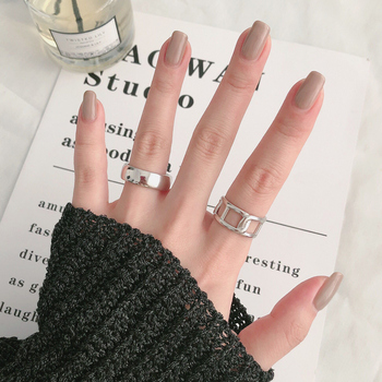 HUANZHI 2020 Minimalist Design Chain Silver Color Plated Hollow Out Retro Adjustable Rings for Women Men Jewelry