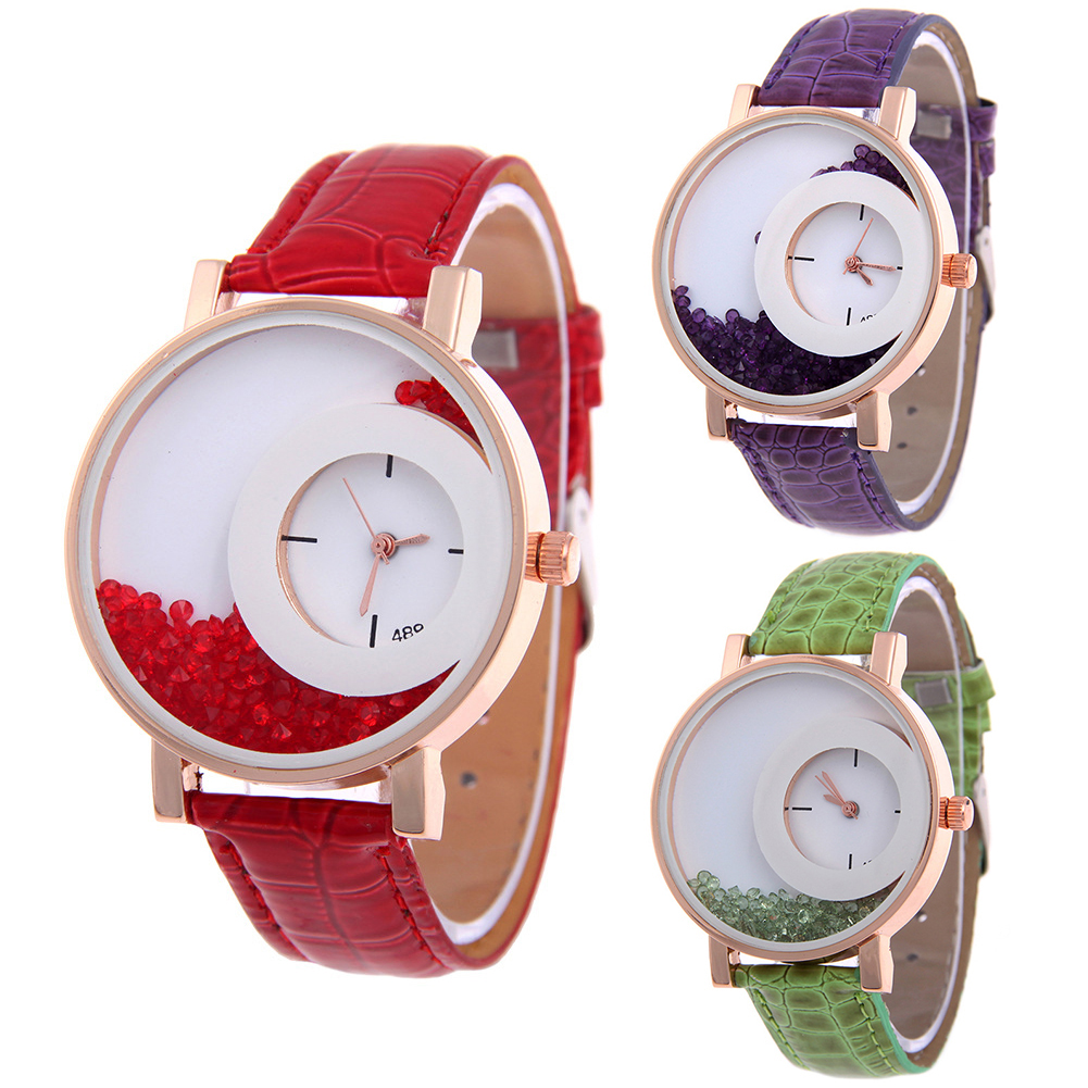 Unique Quicksand Rhinestone Designed Round Dial Adjustable Faux Leather Strap Analog Quartz Watch Women Gift Reloj Hombre Ladies