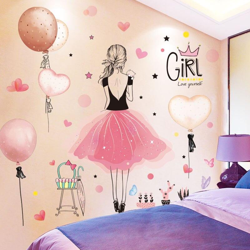 [SHIJUEHEZI] autocollants muraux fille dessin animé bricolage ballons Pot plante Stickers muraux pour maison salon enfants chambre décoration
