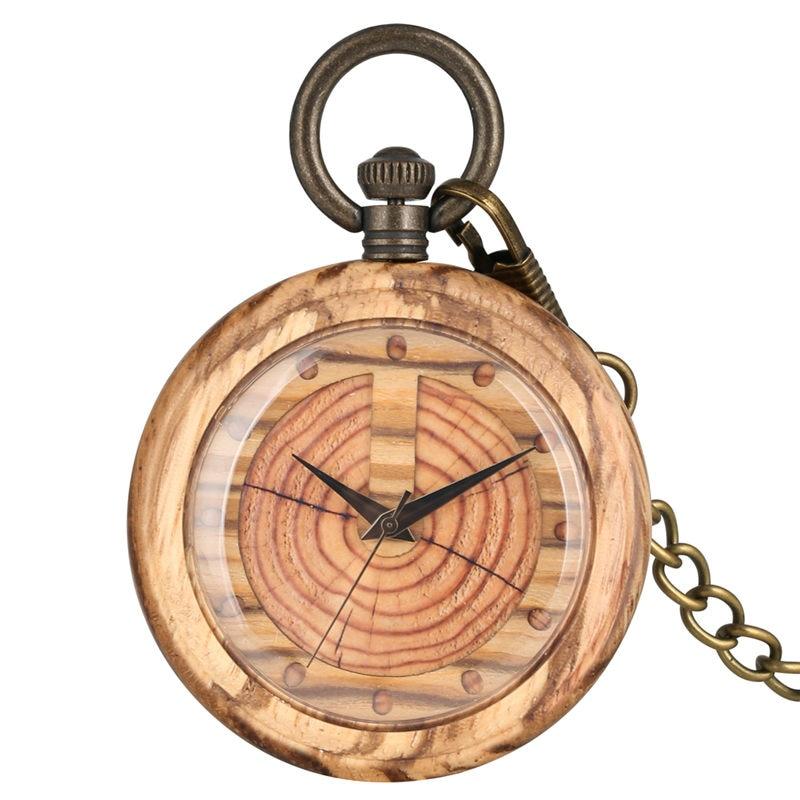 Unique Quartz Wooden Pocket Watch Women Keychain Clock Dial Detachable Luminous Chain Wood Men Pendant Watch Gift
