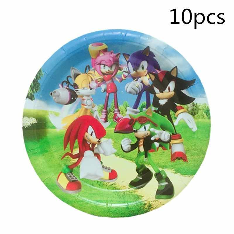 10pcs Sonic The Hedgehog Paper Plate Birthday Party Cake Dish Decorations Kids Favors Disposable Tableware Baby Shower Supplies Aliexpress