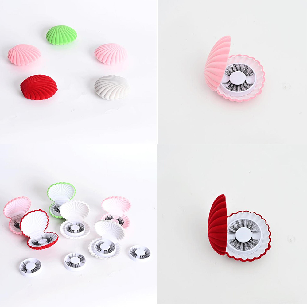 1pcs Shell Shape False Eyelash Boxes Packaging Cases Empty Eyelash Storage Boxes With Lash Trays Unique Cloth Empty Box New