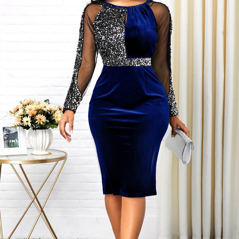 Summer Women 2020 Fashion Casual Slim Office Bodycon Dresses Elegant Sexy High Waist Mesh Sequins Party Dress Plus Size 5xl
