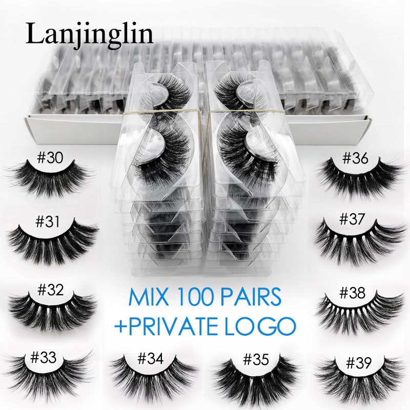 Wholesale 20/30/40/50/100 Pairs 3d Mink False Eyelashes Private Logo Fake Lashes Natural Long Makeup Lash Extension In Bulk
