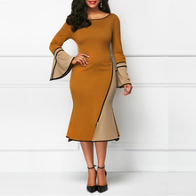 Plus Size Elegant Patchwork Flare Sleeve Party Dress Vintage Large Long Sheath O-Neck Summer 4xl Dress Long Sleeves Office Dress plus size sheath dress with long sleeves