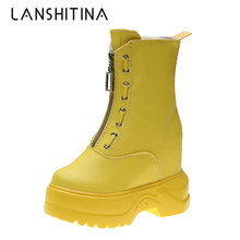 купить New Women Platform Boots 2019 Autumn Waterproof Ankle Boots 10CM Wedge Heels Leather Sneakers Winter Warm Fur High Heels Boots онлайн