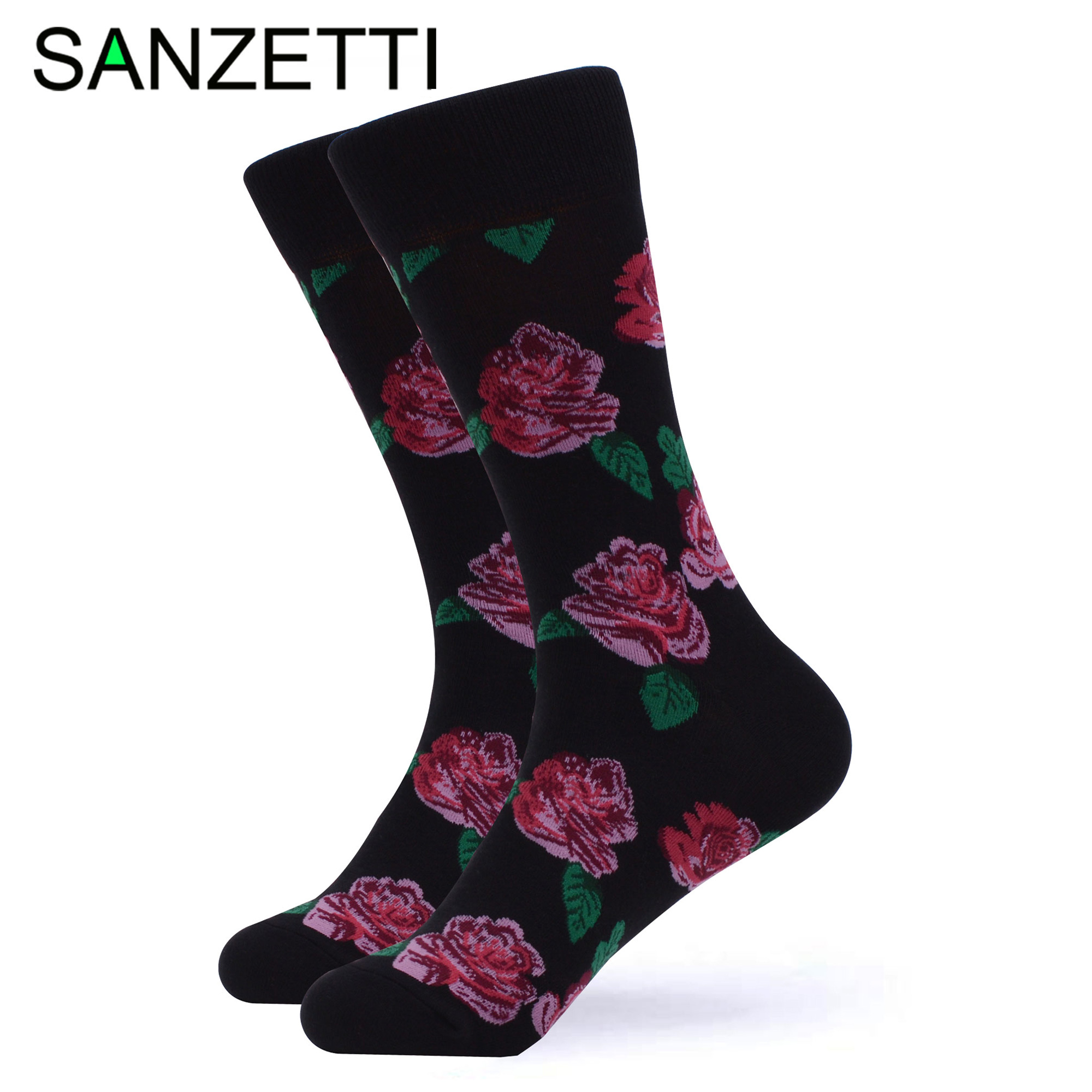 SANZETTI 1 Pair Colorful Bright Women Socks Novelty Combed Cotton Rose Cute Sushi Banana Donuts Pretty Wedding Dress Happy Socks