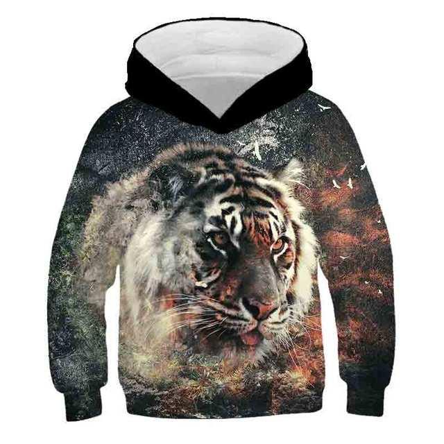 Boys Girls Cat Ears Pullover Hoodie Jumper XS-L Leezeshaw Kids 3D Wild Animal Tiger Lion King Print Hoodie Sweatshirt with Ears