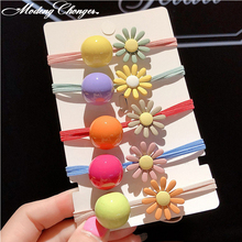 Cute Elastic Hair Band Daisy Ring Candy Color Flower Ties Ponytail Holder Rope Scrunchies Girls Accessories
