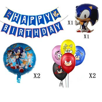 1 Set Cartoon Sonic the Hedgehog Figure Banner Balloons for Birthday Party Decoration Latex Balloon Party Supplies Hat transport theme balloon set latex balloon banner cake topper for happy birthday party decoration kids birthday balloons for kids