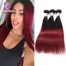 Racily Hair 1B/Burgundy Ombre Brazilian Straight Hair Weave Bundles Deals 1/3/4