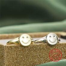 Bague ouverte ajustable en argent Sterling 925 pour femme, bijoux Punk, nouveau Design, Simple, avec visage souriant, offre spéciale
