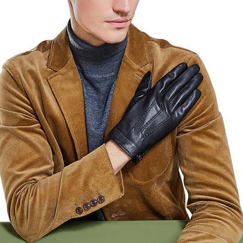 Real Leather Men Gloves Touch Screen Keep Warm Driving Thin Velvet Lined Fashion Black Sheepskin Male ZX8004