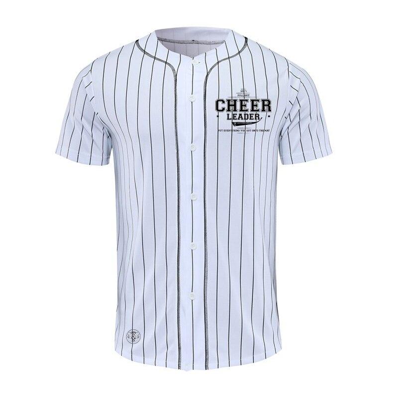 Novo design camisa de beisebol dos homens listra manga curta rua hiphop camisetas botão cardigan camisa esporte preto branco