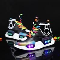 Children's LED tmallfs shoes High top magic basketball shoes kid sneakers boy runner girl tenis infantil krampon futbol orjinal