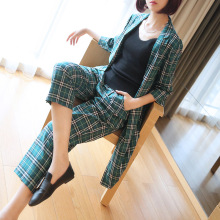 Official Half Sleeve Two Piece Set Print Plaid Long Coat and Wide Leg Pants For Women Autumn 2 Outfits Suit
