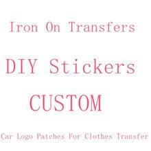 Fer personnalisé sur les transferts pour vêtements fer sur transfert de voiture de marque logo patch thermique autocollants pour vêtements rayures marque logo insigne
