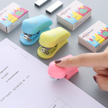 Mini Color Stapler + Pins Student Small Portable Stapler Set Staionery Paper Clip Binding Binder Book Office School Supplies