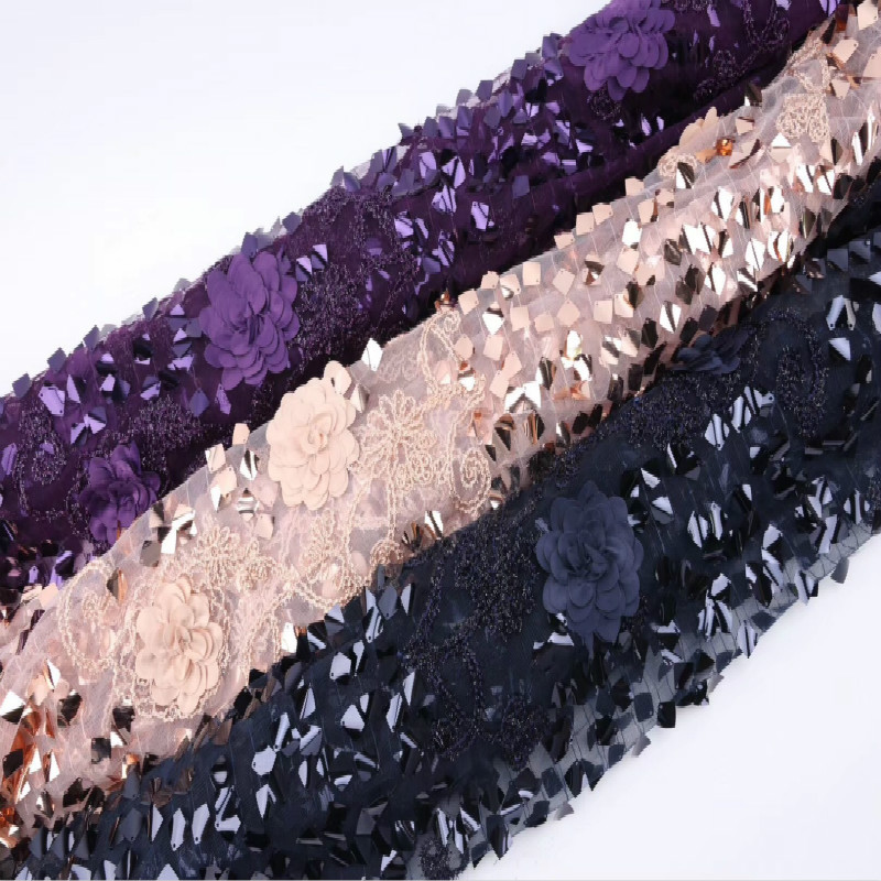 New Mesh Lace Sequin Fabric High-end Wedding Dress Embroidered Fabric Super Wave Thin Dress Lace Fabric