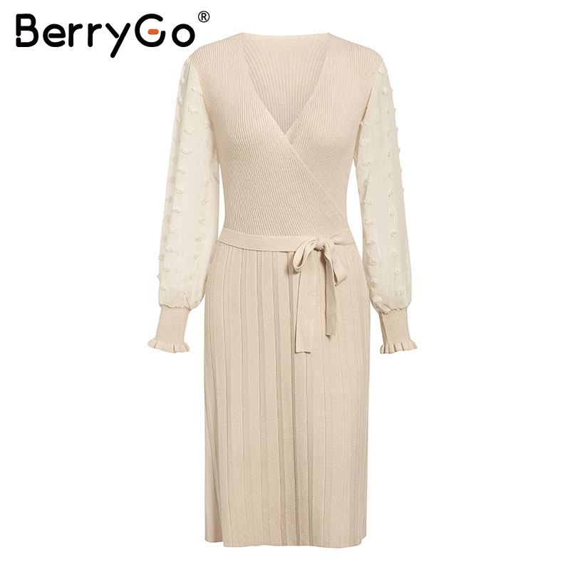 BerryGo Ruffle long sleeve knitted dress women V neck sashes female pleated dresses High waist luxury autumn winter office dress 9