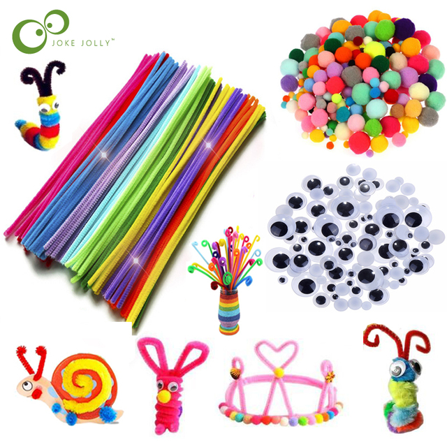 $ US $1.63 Colorful Plush Sticks Wool Pompoms Materials Kids DIY Montessori Craft Pipe Math Counting Education Stick Child Puzzles Toy ZXH