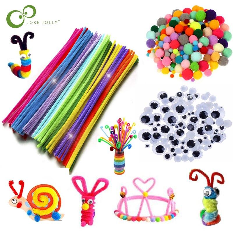 Renkli peluş sopa yün Pompoms malzemeleri çocuklar DIY Montessori zanaat boru matematik sayma eğitim sopa çocuk bulmacalar oyuncak ZXH