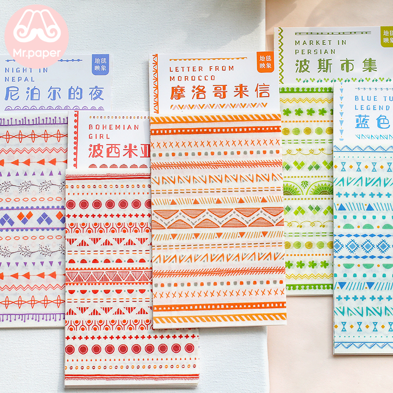 Mr.paper 6 Designs 8Pcs/pack Bohemia Morocco Style Deco Stickers Scrapbooking Bullet Journal Popular Creative Deco Stickers