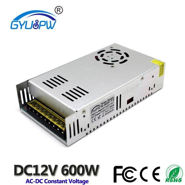 Fonte de alimentação dc 12v 50a 600w led driver transformador ac110v 220 v to12v dc adaptador de alimentação para lâmpada tira cnc cctv