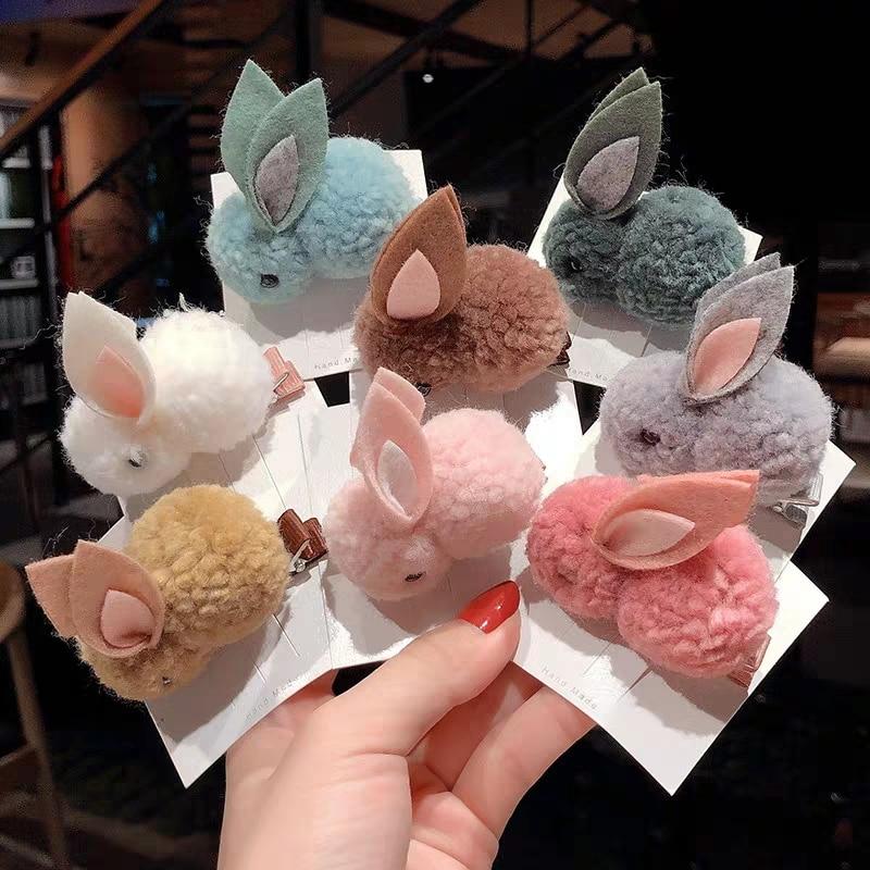 Cute Plush Rabbit Women Girls Hair Clip Elastic Hair Band Hairpin Ponytail Holder Fashion Kids Hair Accessories Tie Headband
