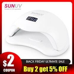 SUNUV SUN5 Plus 48W UV luz secador de uñas para todos los geles doble manos 36Leds lámpara de manicura Auto Sensor inferior