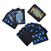 55 Teile/satz Wasserdichte PVC Kunststoff Spielkarten Poker Classic Magic Tricks Werkzeug Reinem Schwarz Magic Box-verpackt Dropshipping