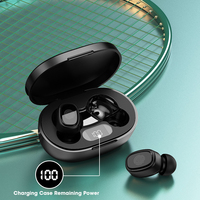 Auriculares TWS inalámbricos con Bluetooth, dispositivos deportivos estéreo 3D con pantalla LED y micrófono, a prueba de agua