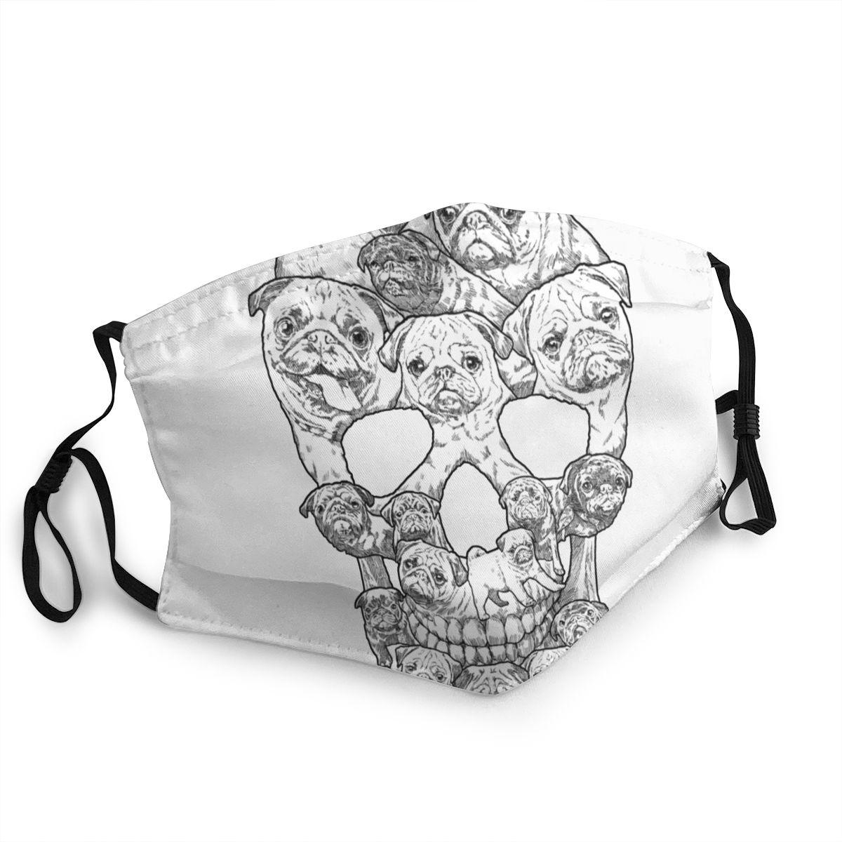 Máscara facial de cráneo de perro Pug lavable, máscara facial de moda a prueba de viento, a prueba de polvo, máscara respirador protectora de invierno para adultos 20 piezas PM2.5 de algodón unisex, mascarilla facial Anti-humo transpirable y lavable con mufla bucal para ciclismo