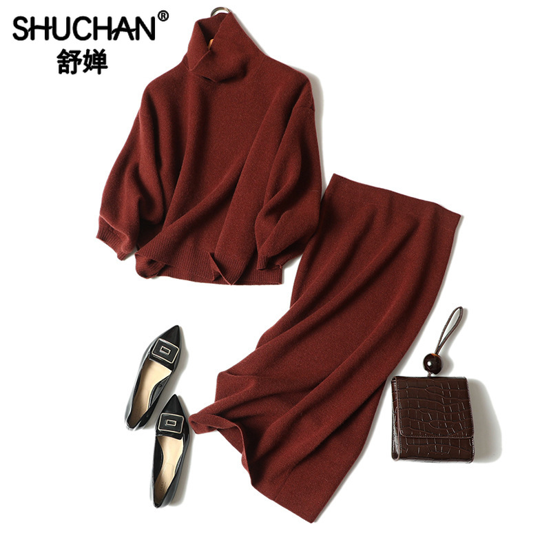 Shuchan 100% Cashmere Turtleneck Pullover Loose +pencil Skirts High Street Designer Women Suit High Quality Korean Style Women